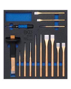 BGS BGS4045 Werkstattwageneinlage 2/3, Körner, Meißel, Splintentreiber, 14-teilig