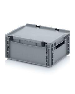 Auer ED 43/17. Eurobehälter mit Scharnierdeckel, 40x30x18,5 cm