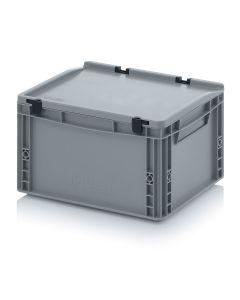 Auer ED 43/22 HG. Eurobehälter mit Scharnierdeckel, 40x30x23,5 cm