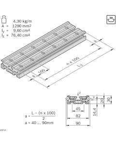 Bosch Rexroth 3842992438. Führungsprofil LF12S