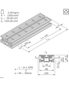 Bosch Rexroth 3842993080. Führungsprofil, LF20S, Zuschnittpreis