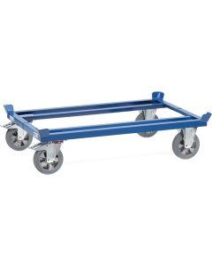 Fetra 22812. Paletten-Fahrgestelle. 1200 kg, für Flachpaletten und Gitterboxen, blaugraue Elastic-Vollgummi-Bereifung