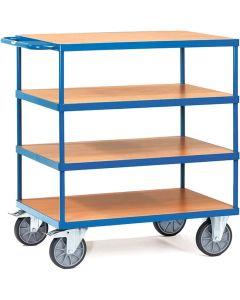 Fetra 2443. Schwere Tischwagen. bis 600 kg, mit 4 Böden aus Holz