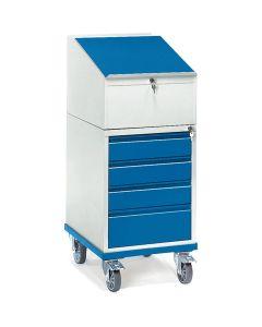 Fetra 2449. Rollpult. 150 kg, mit 4 Schubladen und Schreibpult-Aufsatz