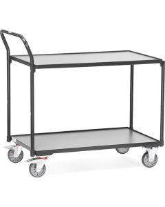 """Fetra 2742/7016. Leichte Tischwagen """"GREY EDITION"""". 300 kg, mit 2 Böden aus Holz, Griff hochstehend"""