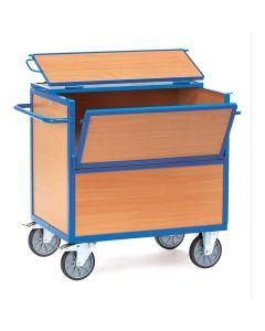 Fetra 2853. Holzkastenwagen. 600 kg, mit Wänden und Boden aus Holz, mit Deckel