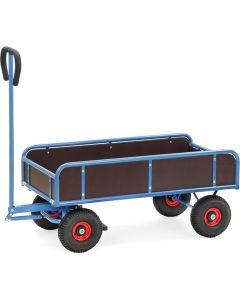 Fetra 4124V. Handwagen. 400 kg, 2-Achser mit 4 Wänden, 250 mm hoch, Feststellbremse