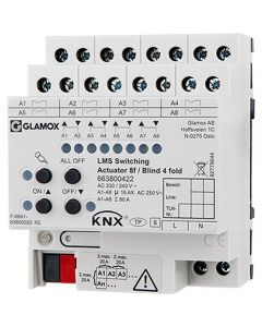 Glamox 663800422. Beleuchtung LMS KNX Switching ACTUATOR 8F/BLIND 4 FOLD