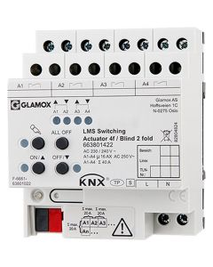 Glamox 663801422. Beleuchtung LMS KNX Switching ACTUATOR 4F/BLIND 2 FOLD