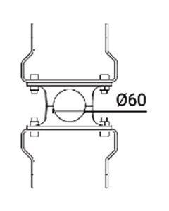 Glamox O559941421. Außenleuchten O55-W TWIN bracket für POLE 60 Aluminium